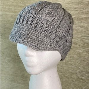 Women's Gray Knit Cap/ Hat/ Beanie